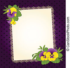 Pansy with lace ornaments