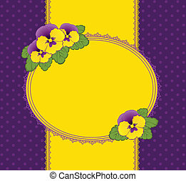 Pansy with lace ornaments on background. Vector