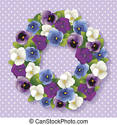 Pansy Wreath, Pastel Lavender - Spring Pansy wreath with...