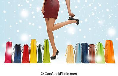 pantalló, combok, bevásárlás, hosszú