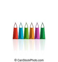 pantalló, fehér, bevásárlás, színes