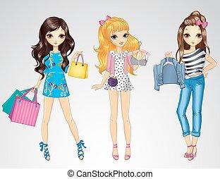 pantalló, felöltöztet bevásárlás, lány