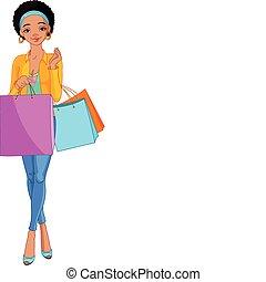 pantalló, leány, bevásárlás, afrikai