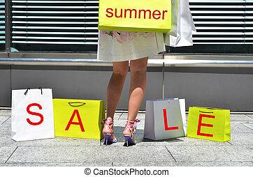 pantalló, leány, bevásárlás