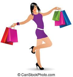 pantalló, leány, vektor, bevásárlás