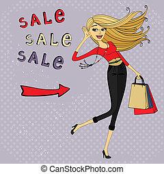 pantalló, mód, bevásárlás, kiárusítás, hirdetés, leány