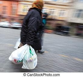 pantalló, nő, öreg, műanyag