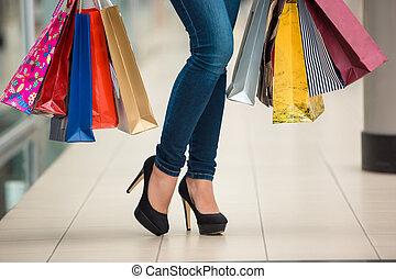 pantalló, nő, combok, bevásárlás