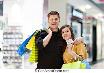 pantalló, párosít, bevásárlás, fiatal