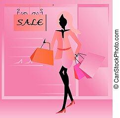 pantalló, woman bevásárol