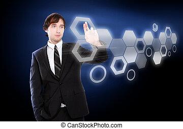 pantalla, él, virtual, mano, conmovedor, humano