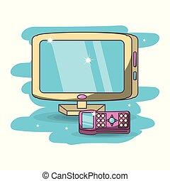 pantalla ancha, moderno, televisión