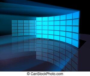pantalla ancha, panel, paredes, monitor