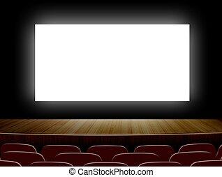 pantalla, asientos, blanco, cine