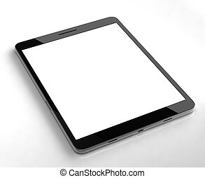 pantalla, blanco, aislado, tableta, costumbre