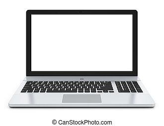 pantalla, blanco, computador portatil, metal