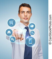 pantalla, buisnessman, virtual, señalar el dedo