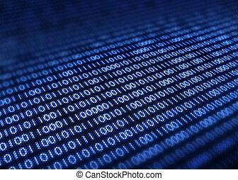 pantalla, código, pixellated, binario