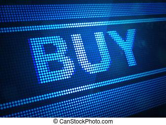 pantalla, comprar, ilustración digital, 3d