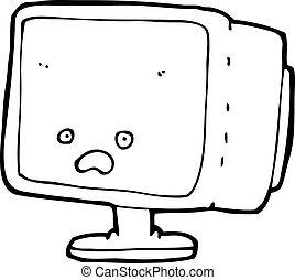 pantalla, computadora, caricatura