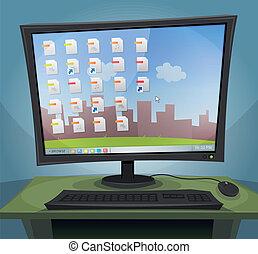 pantalla, computadora, sistema operativo, escritorio