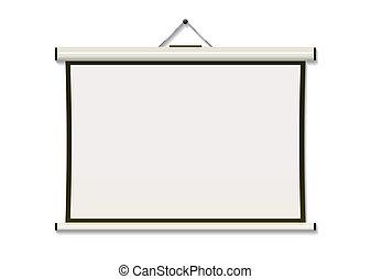 pantalla, cuelgue, proyección