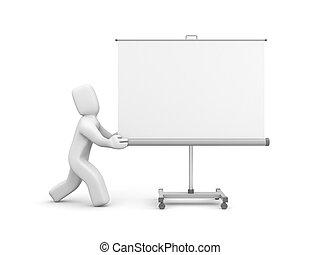 pantalla de proyección, whiteboard, persona, empujón, o