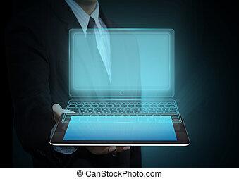 pantalla del tacto, tableta, tecnología