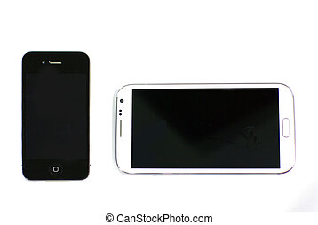 pantalla, elegante, dos, teléfonos, tamaño