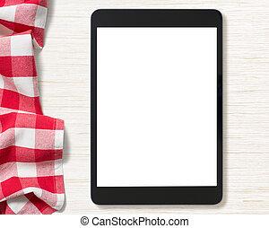 pantalla en blanco, de, computadora personal tableta, en, tabla de cocina