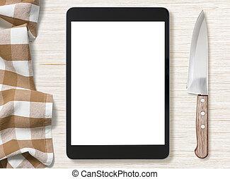 pantalla en blanco, de, negro, computadora personal tableta, para, cocina, receta, notas