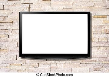 pantalla en blanco, lcd, televisión, ahorcadura, un, pared