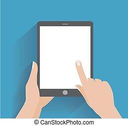 pantalla en blanco, smartphone, llevar a cabo la mano