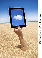 pantalla, mano, computadora, tenencia, Tacto, playa