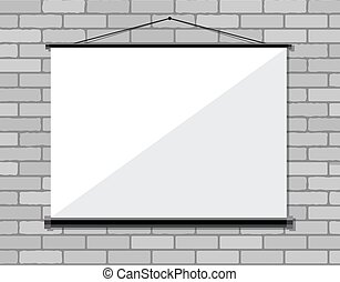 pantalla, pared, ladrillo, proyector