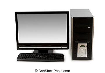 pantalla plana, computadora, aislado, blanco
