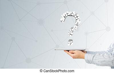 pantalla, pregunta, tableta, marca