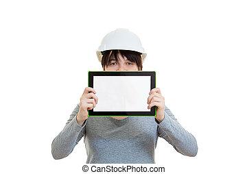 pantalla, presentación, tableta, blanco