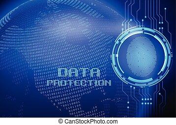 pantalla, protección, datos, digital, huella digital