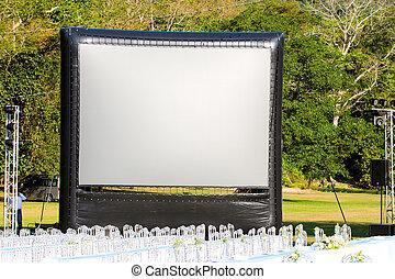 pantalla, proyección, jardín