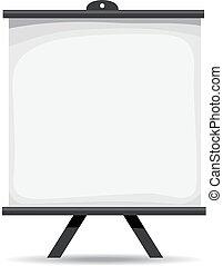 pantalla, proyector, blanco
