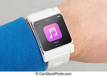 pantalla, reloj, arriba, música, cierre, blanco, app, elegante, icono