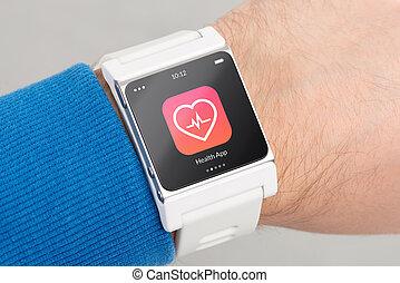 pantalla, reloj, arriba, salud, cierre, blanco, app, elegante, icono