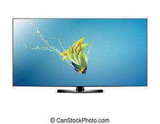 pantalla, televisión, lcd