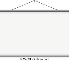 pantalla, vector, proyección, blanco