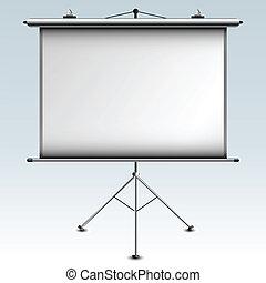 pantalla, vector, proyector