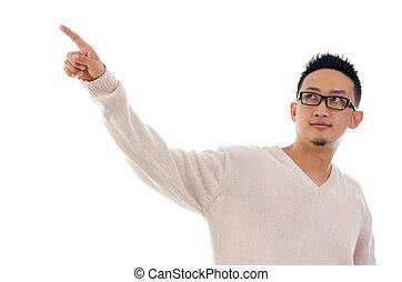 pantalla,  virtual, conmovedor, dedo, asiático, transparente, hombre