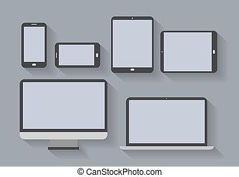 pantallas, electrónico, dispositivos, blanco