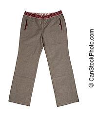 pantalones, gris, pantalones
