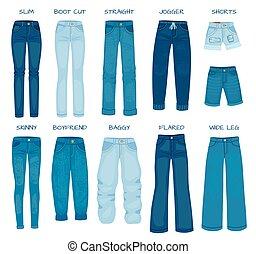 pantalones, modelos, vector, flaco, vaqueros, derecho, fits., silueta, pantalones, mujeres, delgado, hembra, conjunto, estilos, jean, bota, tela vaquera, cut., novio